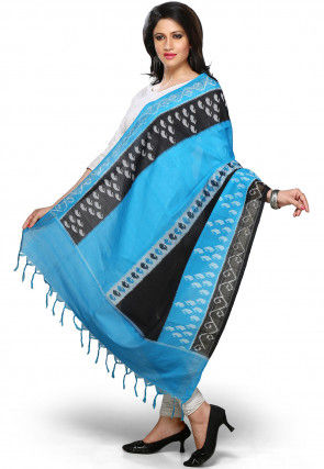 Handloom Cotton Dupatta In Blue and Black