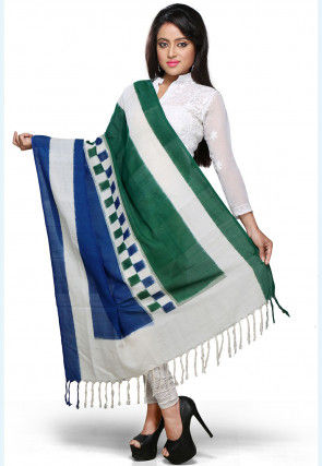Handloom Cotton Dupatta In Off White ,Blue and Green