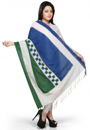 Handloom Cotton Dupatta In Blue ,Green and Off White