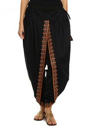 Printed Cotton Dhoti Pant In Black