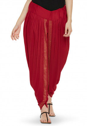 Block Printed Cotton Viscose Dhoti in Red