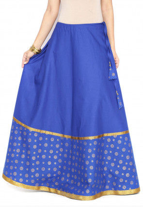 Block Printed Cotton Skirt in Royal Blue