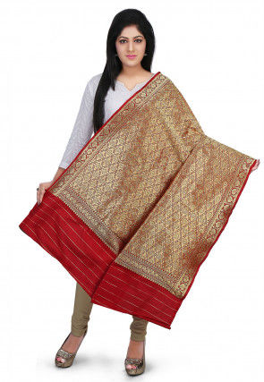 Woven Art Silk Dupatta in Red