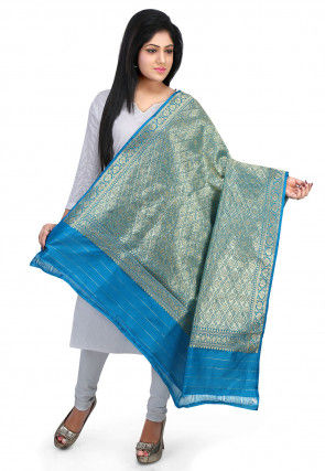 Woven Art Silk Dupatta in Blue