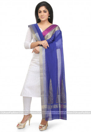 Woven Chanderi Silk Dupatta in Royal Blue