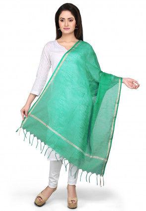 Handloom Cotton Silk Dupatta in Green