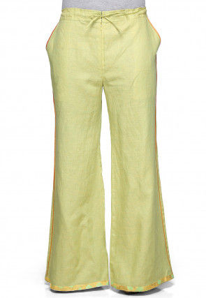 Pure linen Palazzo In Light Yellow