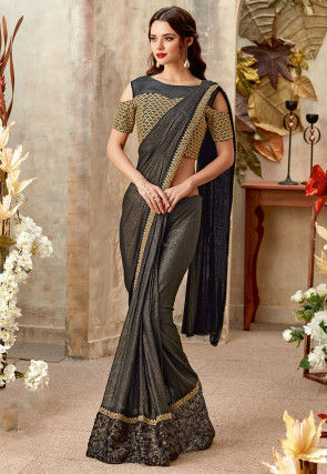 Butterfly Pallu Lycra Shimmer Saree in Black