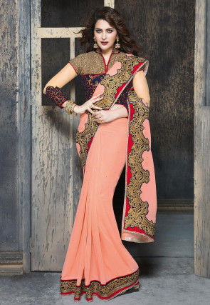 Butterfly Pallu Embroidered Georgette Saree in Peach