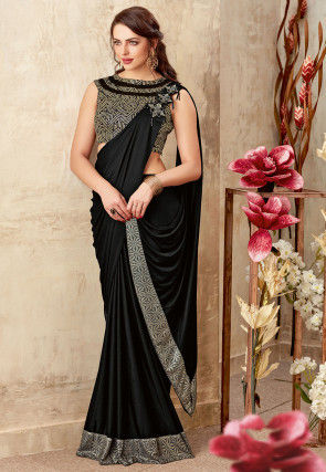 Butterfly Pallu Lycra Saree in Black