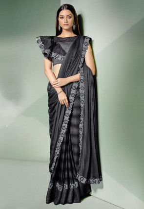 Butterfly Pallu Lycra Saree in Charcoal Black