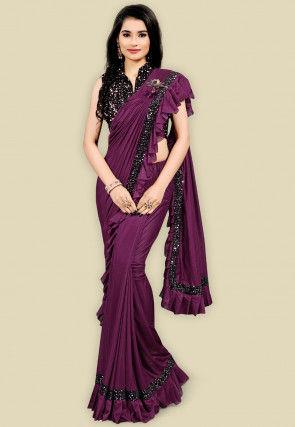 Butterfly Pallu Lycra Saree in Purple