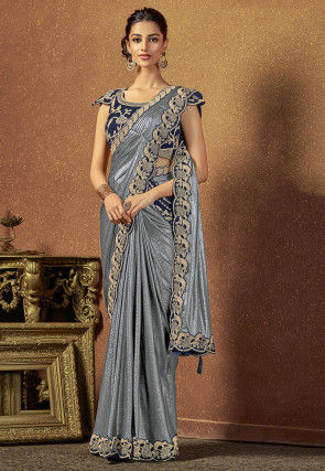 Butterfly Pallu Lycra Shimmer Saree in Grey