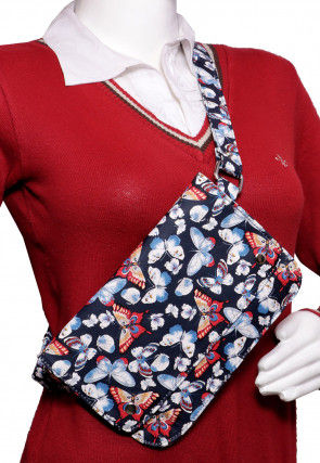 Butterfly Printed PU Leather Fanny Pack (Waist Pouch) in Blue