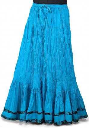 Contrasting Patch Border Crushed Cotton Skirt in Blue