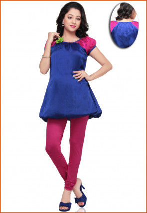 Chiffon Top With Leggings In Royal Blue