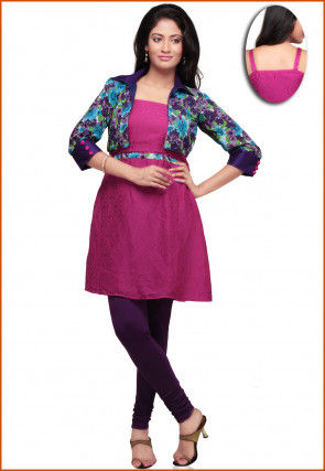 Printed Chiffon Jacquard Top With Leggings in Magenta