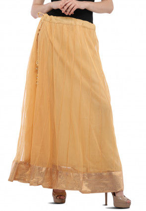 Contrast Border Net Skirt in Beige