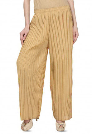 Pleated Georgette Palazzo in Beige