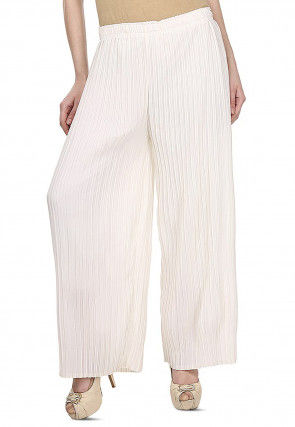 Pleated Georgette Palazzo in White