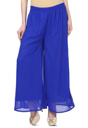 Plain Georgette Palazzo in Royal Blue