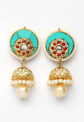 Ceramic Stones Studded Jhumka Style Earrings