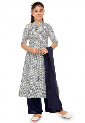 Check Printed Cotton Anarkali Suit in Off White