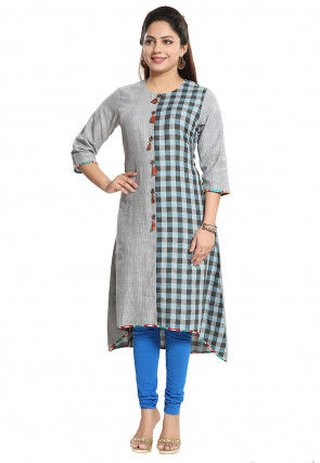 Check Printed Cotton Asymmetric Kurta in Light Grey