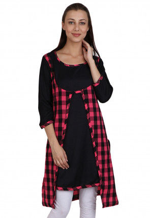 Check Printed Cotton Jacket Style Tunic in Pink and Black