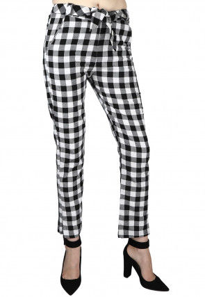 Check Printed Cotton Pant in Black and White
