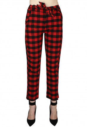 Check Printed Cotton Pant in Red and Black