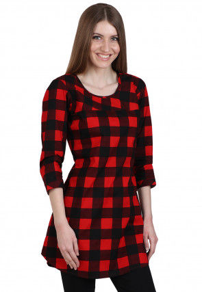 Check Printed Cotton Tunic in Red and Black