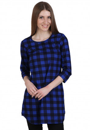 Check Printed Cotton Tunic in Royal Blue and Black