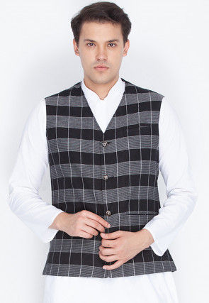 Check Printed Cotton Nehru Jacket in Black and Grey