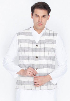 Check Printed Cotton Nehru Jacket in White and Grey