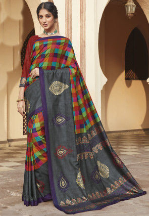 Checkered Art Silk Saree in Multicolor