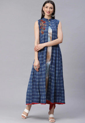 Checkered Cotton Anarkali Suit in Blue and White