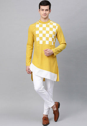 Checkered Cotton Asymmetric Kurta Set in Mustard