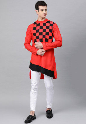 Checkered Cotton Asymmetric Kurta Set in Red