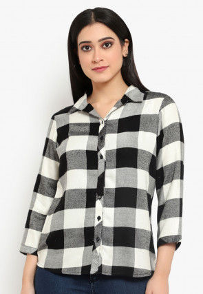Checkered Cotton Shirt in Black and White
