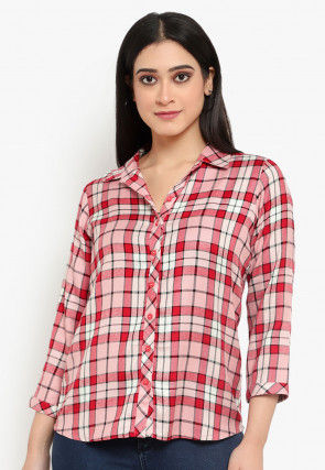 Checkered Cotton Shirt in Red and Pink