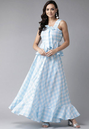 Checkered Rayon Peplum Style Top with Skirt in Sky Blue