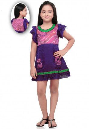 Chiffon and Cotton dress in Purple