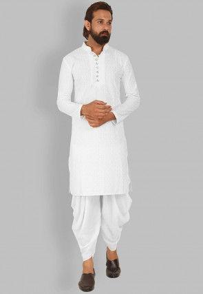 Chikankari Cotton Dhoti Kurta in White