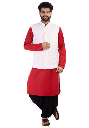 Chikankari Cotton Dhoti Kurta Set in Red and Off White