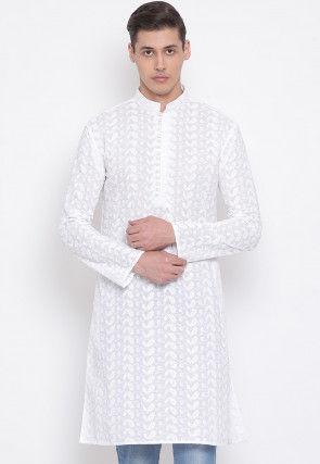 Chikankari Cotton Kurta in White