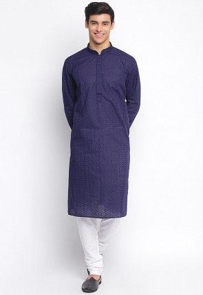 Chikankari Cotton Kurta Set in Navy Blue
