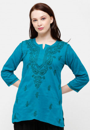 Chikankari Cotton Kurti in Blue