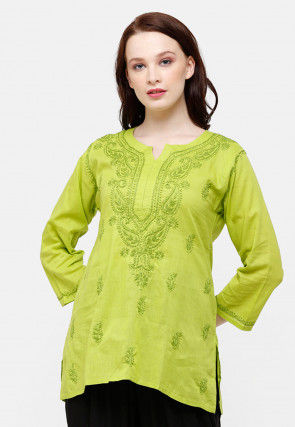 Chikankari Cotton Kurti in Light Green