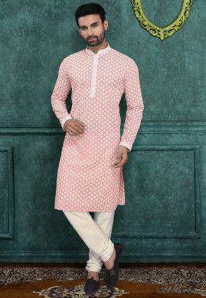 Chikankari Embroidered Cotton Kurta Set in Peach